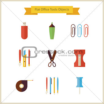 Flat Education School and Business Office Tools Objects Set