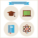 Flat Education Website Icons Set