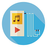 Flat Electronic Technology Music Player Circle Icon with Long Sh