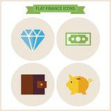 Flat Finance Website Icons Set