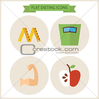 Flat Fitness Dieting Website Icons Set