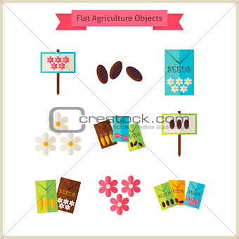 Flat Flower Agriculture Objects Set