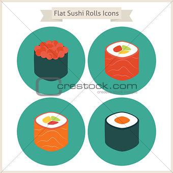 Flat Food Sushi Rolls Circle Icons Set