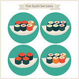 Flat Food Sushi Set Circle Icons