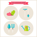 Flat Gardening Website Icons Set