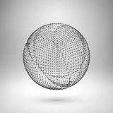 Wireframe mesh polygonal element. Sphere with connected lines and dots.