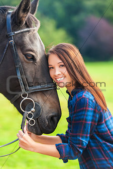 Beautiful Asian Eurasian Girl With Her Horse