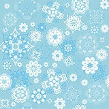 Vector blue seamless background with snowflakes