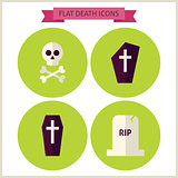 Flat Halloween Death Website Icons Set