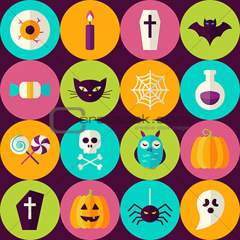 Flat Halloween Party Trick or Treat Seamless Pattern with Colorf