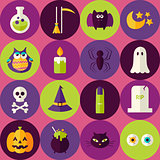 Flat Halloween Scary Witch Seamless Pattern with Colorful Circle