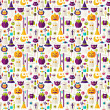 Flat Halloween Trick or Treat Objects Seamless Pattern