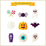 Flat Halloween Trick or Treat Objects Set