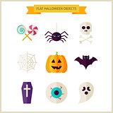 Flat Halloween Trick or Treat Objects Set