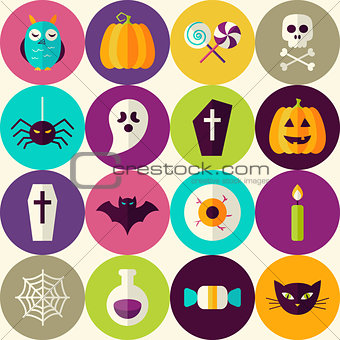 Flat Halloween Trick or Treat Seamless Pattern with Colorful Cir