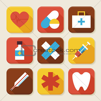 Flat Health and Medicine Squared App Icons Set