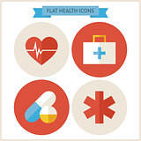 Flat Health Website Icons Set