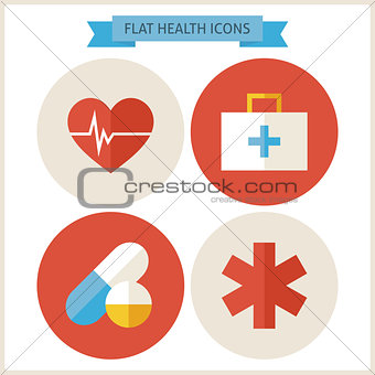 Flat Health Website Icons Set
