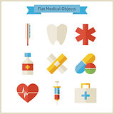 Flat Medical Objects Set