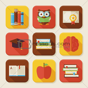 Flat Reading Knowledge and Books Squared App Icons Set