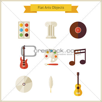 Flat School Arts and Music Objects Set