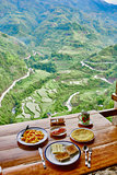 Breakfast  rice paddy terrace fields Philippines