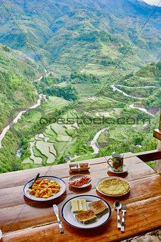 Breakfast  rice paddy terrace fields Philippines