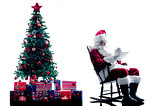 santa claus digital Tablets silhouette isolated