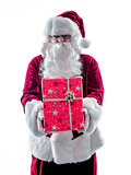 santa claus giving gifts isolated