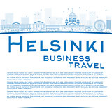 Outline Helsinki skyline and copy space