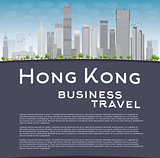 Hong Kong skyline with blue sky, taxi and copy space