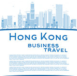 Outline Hong Kong skyline with blue buildings and copy space