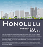 Honolulu Hawaii skyline with grey buildings and copy space