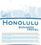 Outline Honolulu Hawaii skyline with blue buildings and copy spa