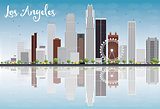 Los Angeles Skyline with Grey Buildings and Blue Sky