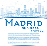 Outline Madrid Skyline with blue buildings and copy space