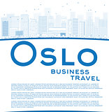 Outline Oslo Skyline with Blue Buildings and copy space