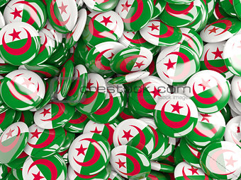 Background with round pins with flag of algeria