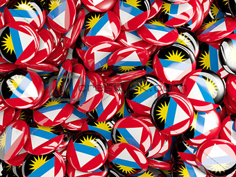 Background with round pins with flag of antigua and barbuda