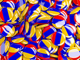 Background with round pins with flag of armenia
