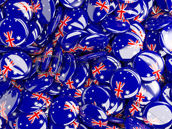 Background with round pins with flag of australia