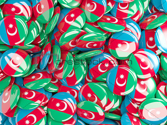 Background with round pins with flag of azerbaijan