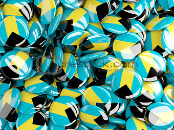 Background with round pins with flag of bahamas