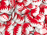 Background with round pins with flag of bahrain