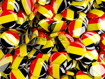 Background with round pins with flag of belgium