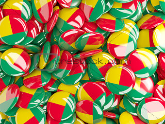 Background with round pins with flag of benin