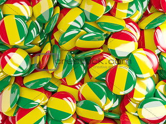 Background with round pins with flag of bolivia