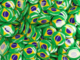 Background with round pins with flag of brazil