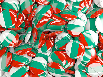 Background with round pins with flag of bulgaria