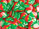 Background with round pins with flag of burkina faso